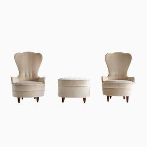 Bijou Set mit Stühlen und Ottomane von Paolo Buffa, 1940er
