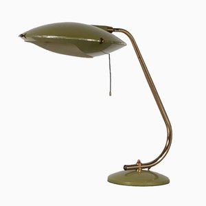 Lacquered Metal & Brass Table Lamp, 1950s