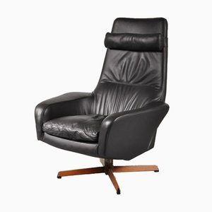 Dutch Black Leather Swivel Chair by Ib Kofod-Larsen for Bovenkamp, 1960s