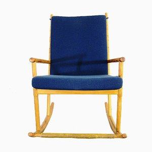 Wood & Blue Fabric Rocking Chair, 1950s