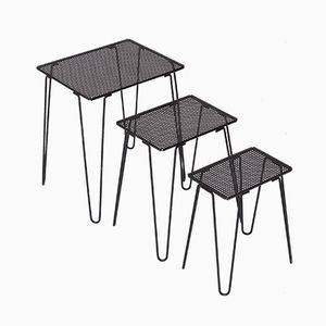 Set of Nesting Tables in Perforated Metal with Hairpin Legs, 1960s