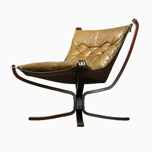 Vintage Leather Brown Falcon Chair by Sigurd Ressell for Vatne Møbler, 1970s