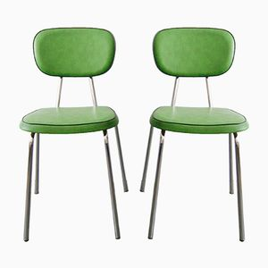 Green Side Chairs, 1970s, Set of 2