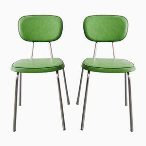 Grüne Beistellstühle, 1970er, 2er Set