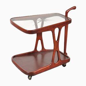 Carrito de servicio de vidrio y madera, años 50