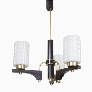 Vintage Gold and Black Glass Chandelier