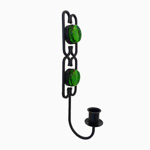 Green Glass Wall Mounted Candlestick by Erik Höglund for Boda, 1960s
