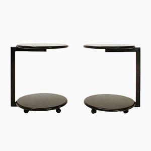 Runder italienischer Nachttisch aus schwarzem Metall, 1980er, 2er Set