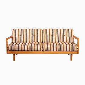 Sofá o sofá cama extensible de roble, años 60