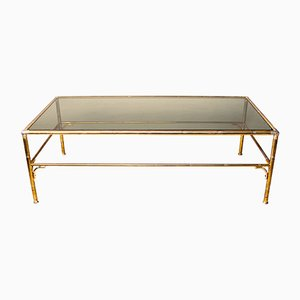 Table Basse Vintage Faux Bambou en Laiton