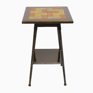 Art Deco Side Table with Ceramic Tiles