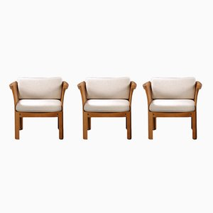 Plexus Easy Chairs in Oak and Grey Fabric by Illum Vikkelso for CFC Silkeborg, 1970s, Set of 3
