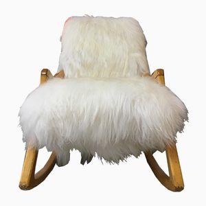 Rocking Chair en Bois Courbé Vintage Art Déco & Peau de Mouton de TON, 1960s