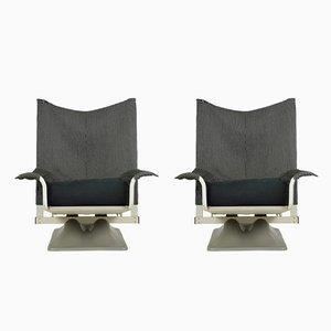 AEO Sessel aus Stoff in Schwarz & Weiß von Paolo Deganello & Archizoom Associates für Cassina, 1970er, 2er Set
