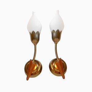 Danish Tulip Brass, Teak, & Opaline Wall Lamps from Fog & Mørup, 1940s, Set of 2