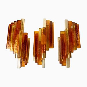 Rustik Stacked Glass & Brass Sconces by Svend Aage Holm Sorensen for Hassel & Teut, 1950s, Set of 3