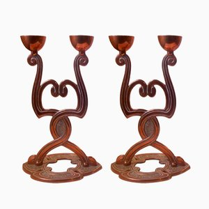 Antique Danish Art Nouveau Copper Candelabras, Set of 2