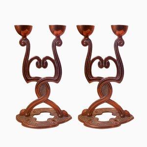 Antique Danish Art Nouveau Copper Candelabras, Set of 2