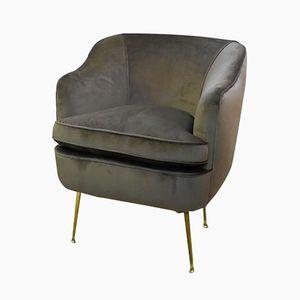 Mid-Century Mink Velvet Italian Club Chair