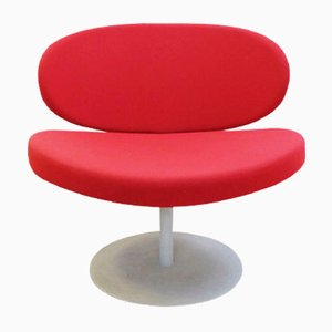 Vintage Red Swivel Chair with Disc Base