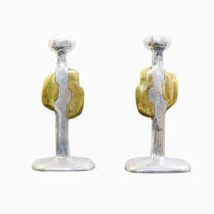 Spanish Cast Aluminium & Brass Candlesticks by David Marshall, 1970s, Set of 2