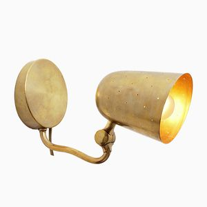 Vintage Swedish Brass Wall Lamp from Boréns, 1950s