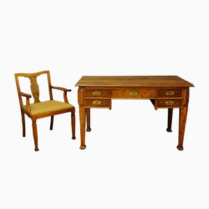 Schreibtisch und Stuhl im Art Deco Stil, 1950er