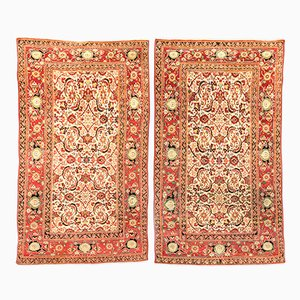 19th Century Indian Red & Yellow Agra Wool Rugs, Set of 2