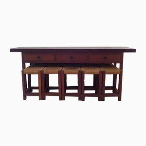 Klapptisch oder Konsolentisch & 10 IPE Hocker aus Holz, 1950er