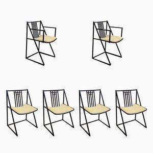 Mid-Century Black Metal Chairs, Set of 6