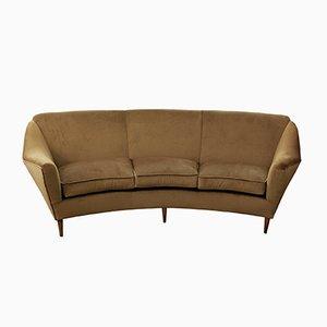 Italian Velvet 3-Seater Sofa, 1950s