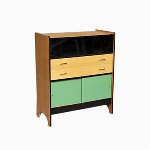 Vintage Sideboard in Oak with Green & Black Pattern