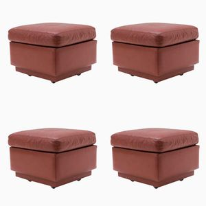 Leather Poufs, 1970s, Set of 4