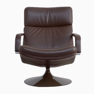 Model F142 Brown Leather Swivel Chair by Geoffrey Harcourt for Artifort, 1980s