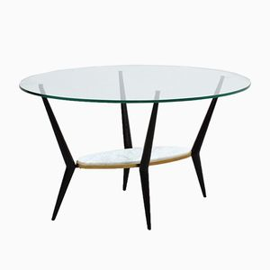 Italian Marble and Glass Coffee Table, 1950s