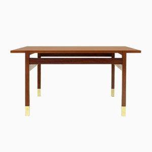 Table Basse en Teck avec Pieds en Laiton, 1960s
