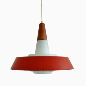 Danish Opaline Glass Pendant Light, 1960s