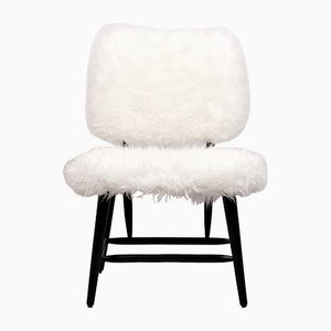 Swedish Faux Fur Cocktail Chair, 1950s