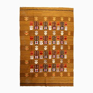Scandinavian Vintage Handmade Flat Weave Kilim, 1950s