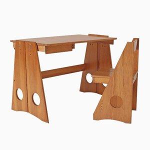 Schreibtisch & Stuhl Set aus Kiefer von Gilbert Marklund für Furusnickarn AB, 1970er