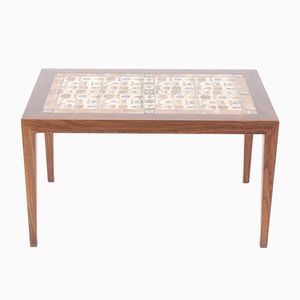 Rosewood Coffee Table with Royal Copenhagen Tiles by Severin Hansen for Haslev Møbelsnedkeri, 1970s