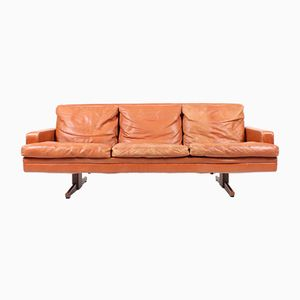 3-Seater Leather Sofa by Fredrik A. Kayser for Vatne Møbler, 1960s