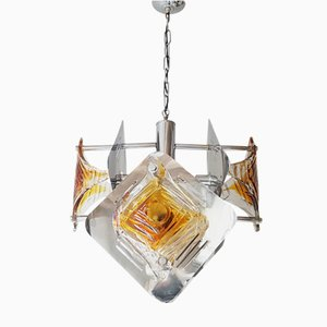 Space Age Steel & Murano Glass Chandelier from Mazzega, 1970s