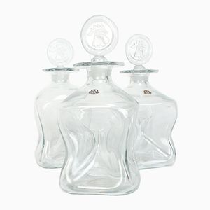 Decanters by Jacob E. Bang for Kastrup, 1950s, Set of 3