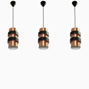 Danish Large Pendant Lights by Jo Hammerborg for Fog & Mørup, 1970s, Set of 3