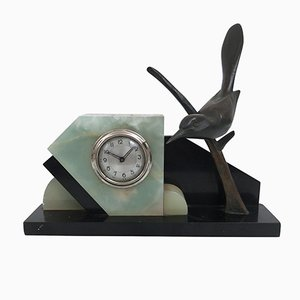 Französische Art Deco Uhr mit Vogel aus Bronze von TIT, 1930er