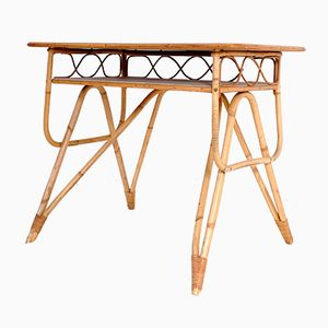French Bamboo & Formica Desk by Louis Sognot, 1950s