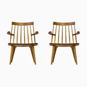 Sibbo Armchairs in Solid Oak by Yngve Ekström for Stolab, 1960s, Set of 2