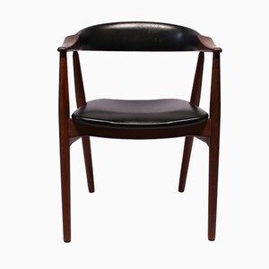 Dänischer Armlehnstuhl aus Teak und schwarzem Leder, 1960er