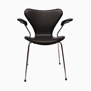 Black Leather Model 3207 Seven Chair by Arne Jacobsen for Fritz Hansen, 1980s